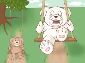 Teddy bear swing set. Best friends
