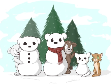 A teddy bear can teach you how to build a snowman or snowbear or snowcat.