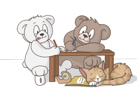 Teddy Bears making a Christmas list for Santa Claus