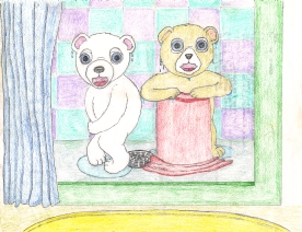 Two teddy bears in the shower. Although teddy don't like to get wet. Makes for a great story book.
