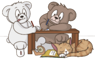 Two teddy bears and a cat writing a letter